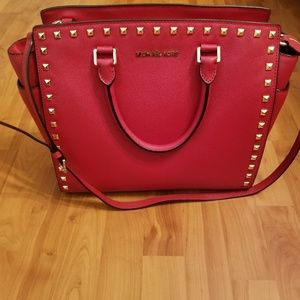 Michael Kors Red Selma Studded Large Satchel EUC